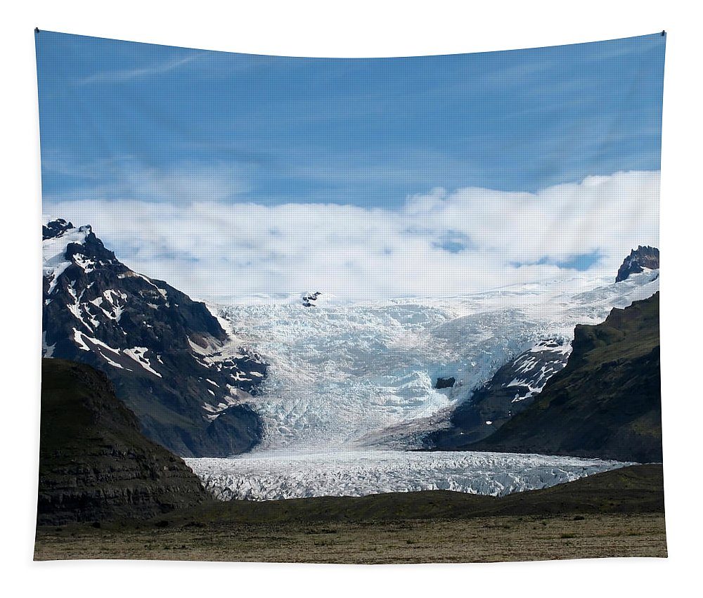 Landscape	Nature	View	Vista	Panorama	Outdoors	Skaftafell	Skaftafellsj�kull	Glacier	Iceland	Mountains	Geology	National Park Tapestry featuring the photograph Skaftafell by Mary Lane