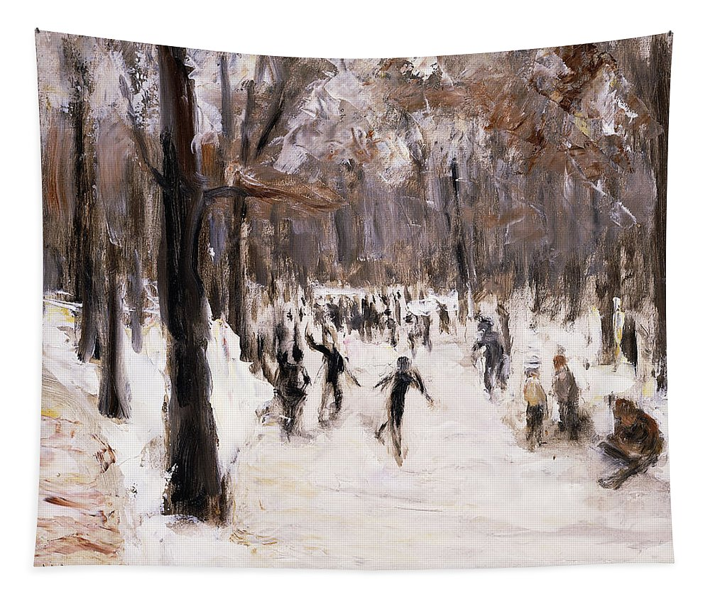 Tree Tapestry featuring the painting Skaters In The Tiergarten, Berlin by Max Liebermann