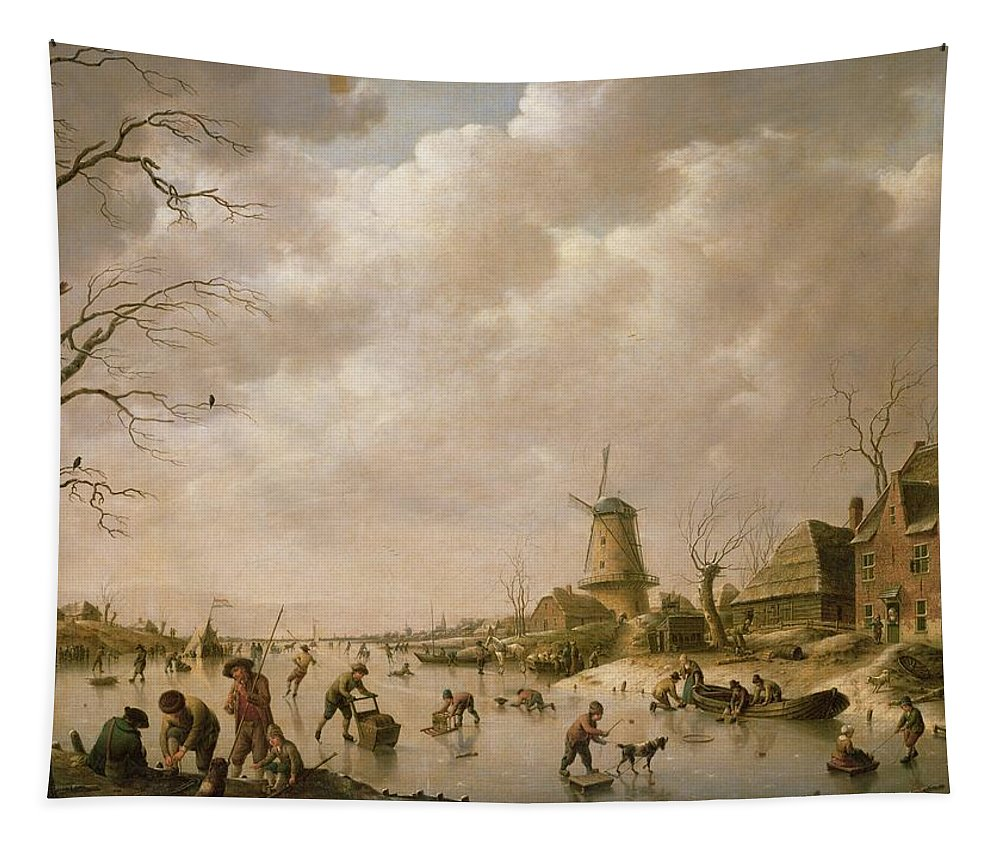 Skaters Tapestry featuring the painting Skaters On A Frozen Canal by Hendrik Willem Schweickardt