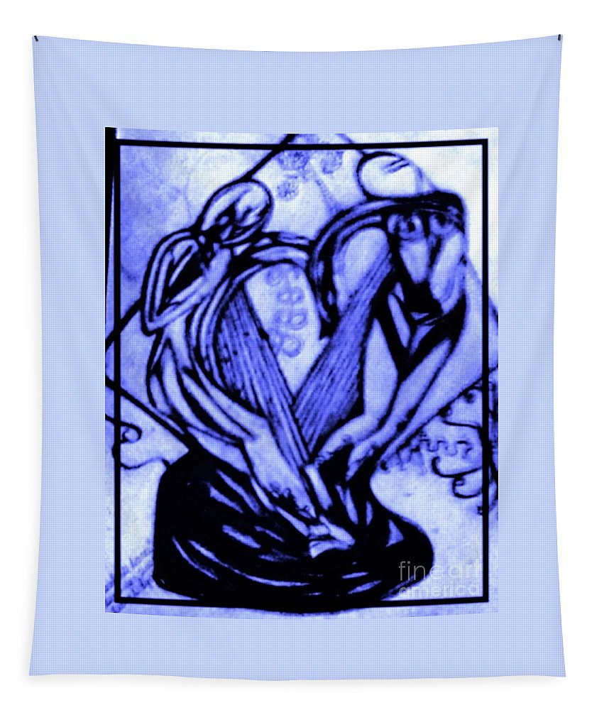 Pencil/sketch Tapestry featuring the drawing Sketch Of Statue In Blue by Debra Lynch