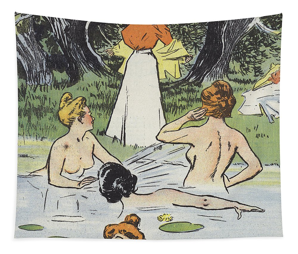 Humor Tapestry featuring the painting Skinny Dipping by Paul Balluriau