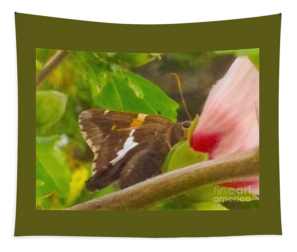 Floral Tapestry featuring the photograph Skipper Trying To Hide Behind A Flower by Debra Lynch
