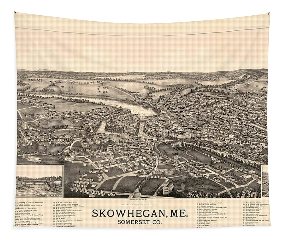 Map Tapestry featuring the mixed media Skowhegan Maine 1892 by Mountain Dreams