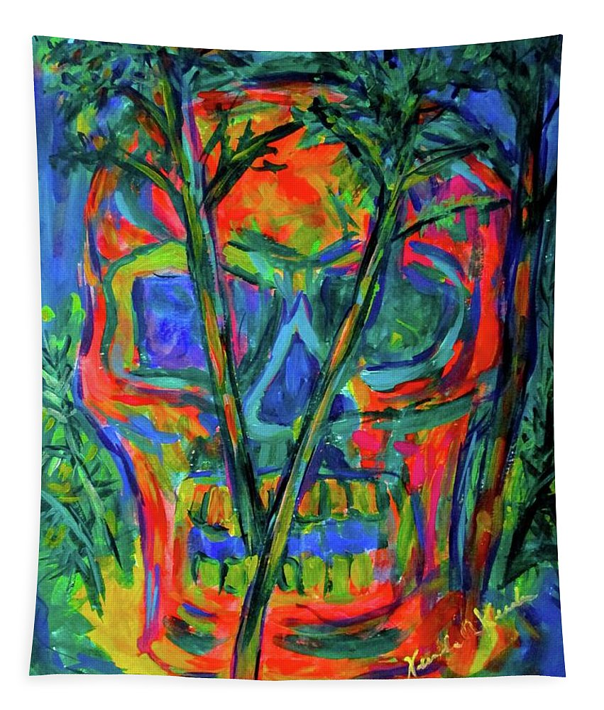 Skull Prints For Sale Tapestry featuring the painting Skull Island by Kendall Kessler