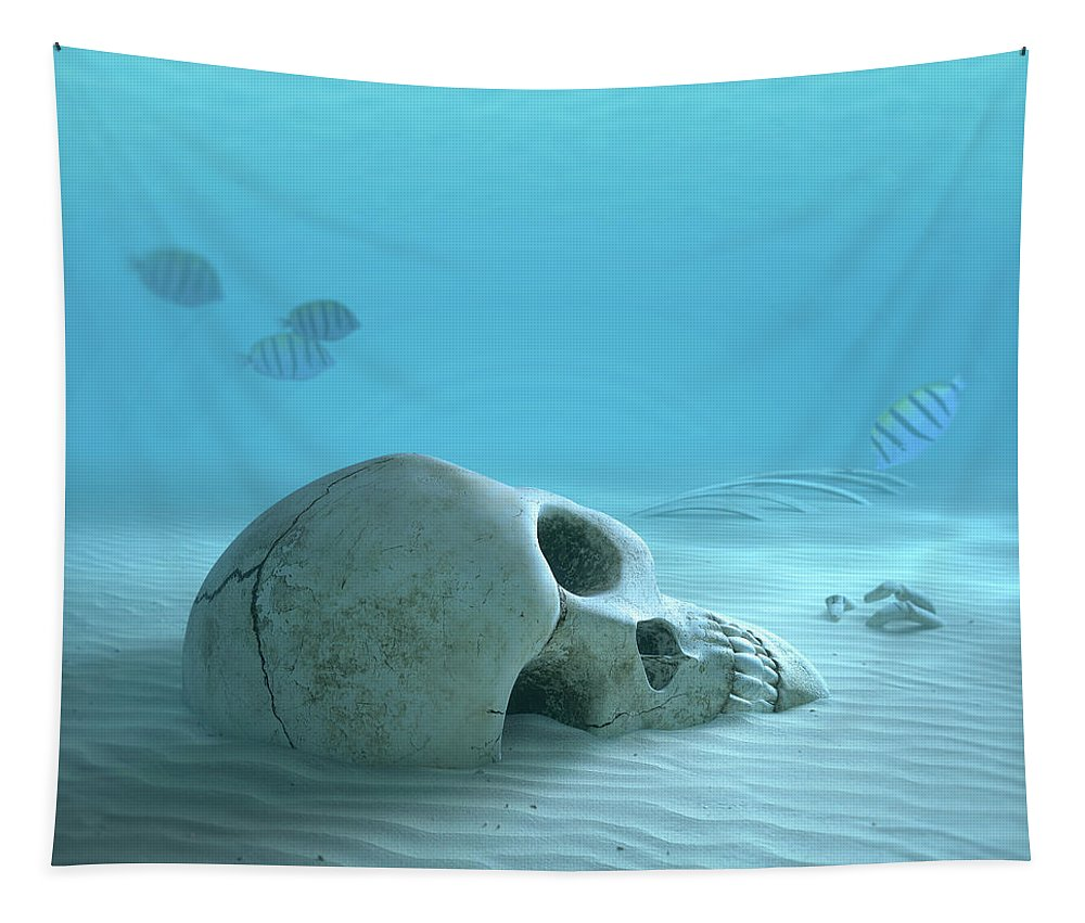 Skull Tapestry featuring the photograph Skull On Sandy Ocean Bottom by Johan Swanepoel