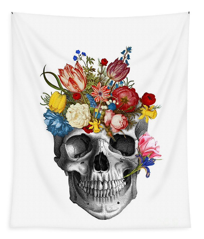 Skull Tapestry featuring the digital art Skull with flowers by Madame Memento