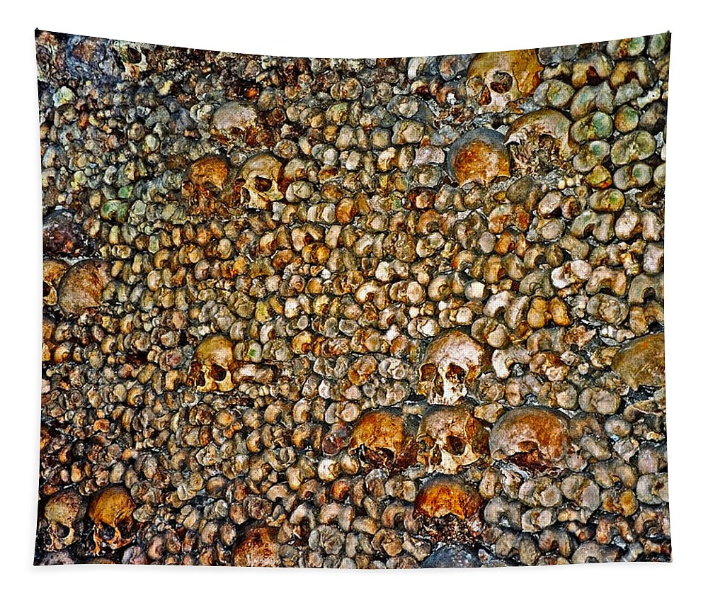 Skulls Tapestry featuring the photograph Skulls And Bones Under Paris by Juergen Weiss