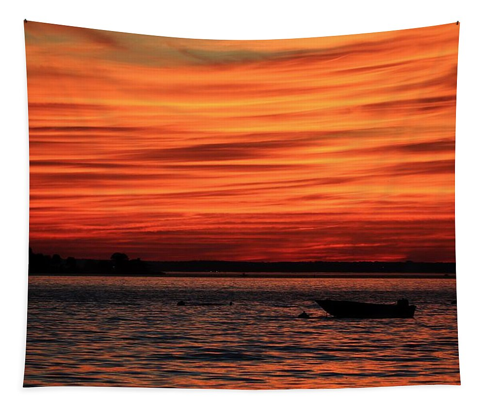 New York Tapestry featuring the photograph Sky Ripple Sunset by Karen Silvestri