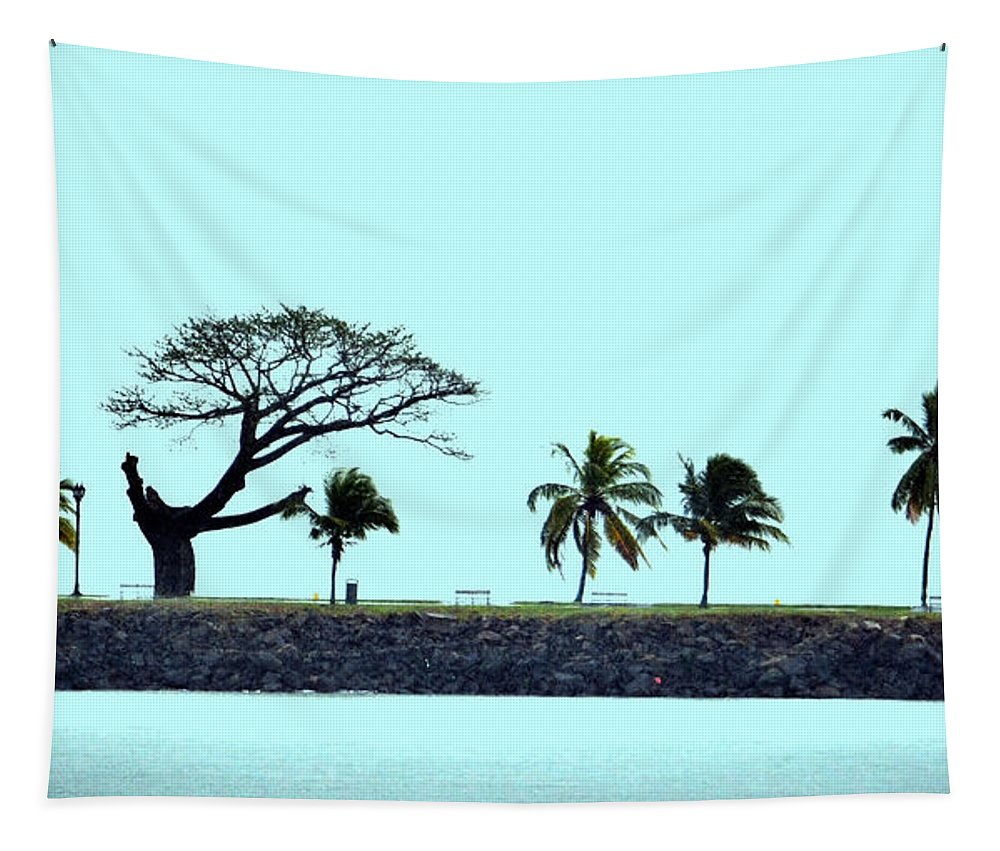 Panama Tapestry featuring the photograph Skyline On Blue by Richard Ortolano