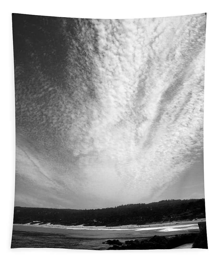 Skyscape Tapestry featuring the photograph Skyscape At Carmel Beach B And W by Joyce Dickens