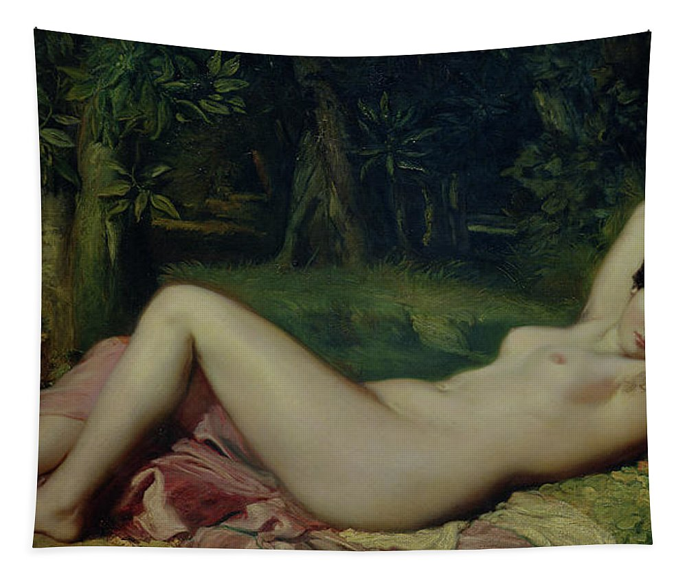 Sleeping Nymph Tapestry featuring the painting Sleeping Nymph by Theodore Chasseriau