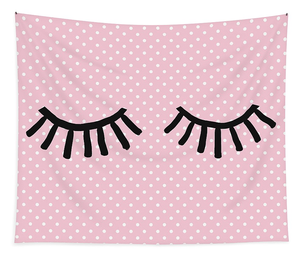 Eyelashes Tapestry featuring the mixed media Sleepy Eyes And Polka Dots- Art By Linda Woods by Linda Woods