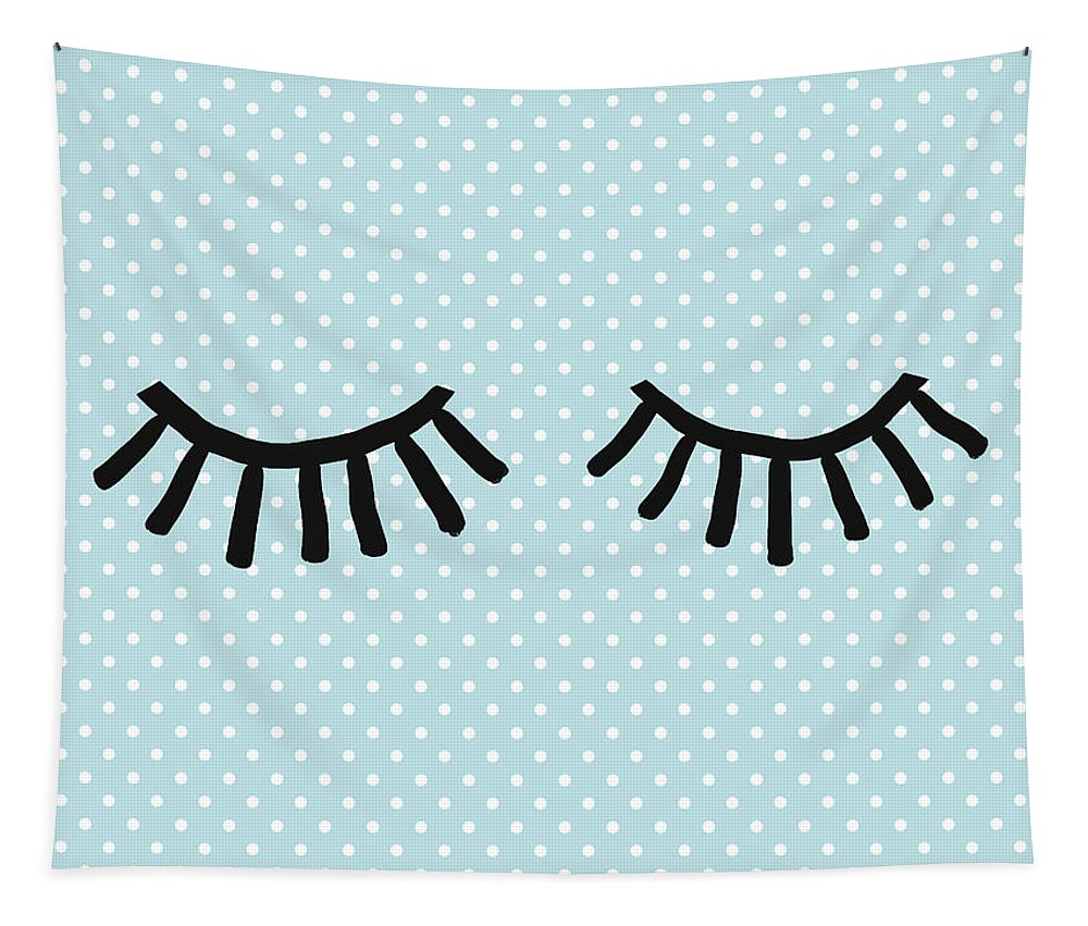 Eyes Tapestry featuring the mixed media Sleepy Eyes And Polka Dots Blue- Art By Linda Woods by Linda Woods