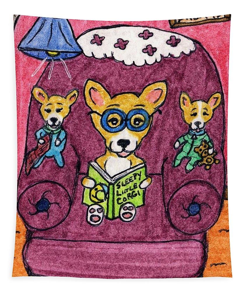 Corgi Tapestry featuring the painting Sleepy Little Corgi by Tambra Wilcox
