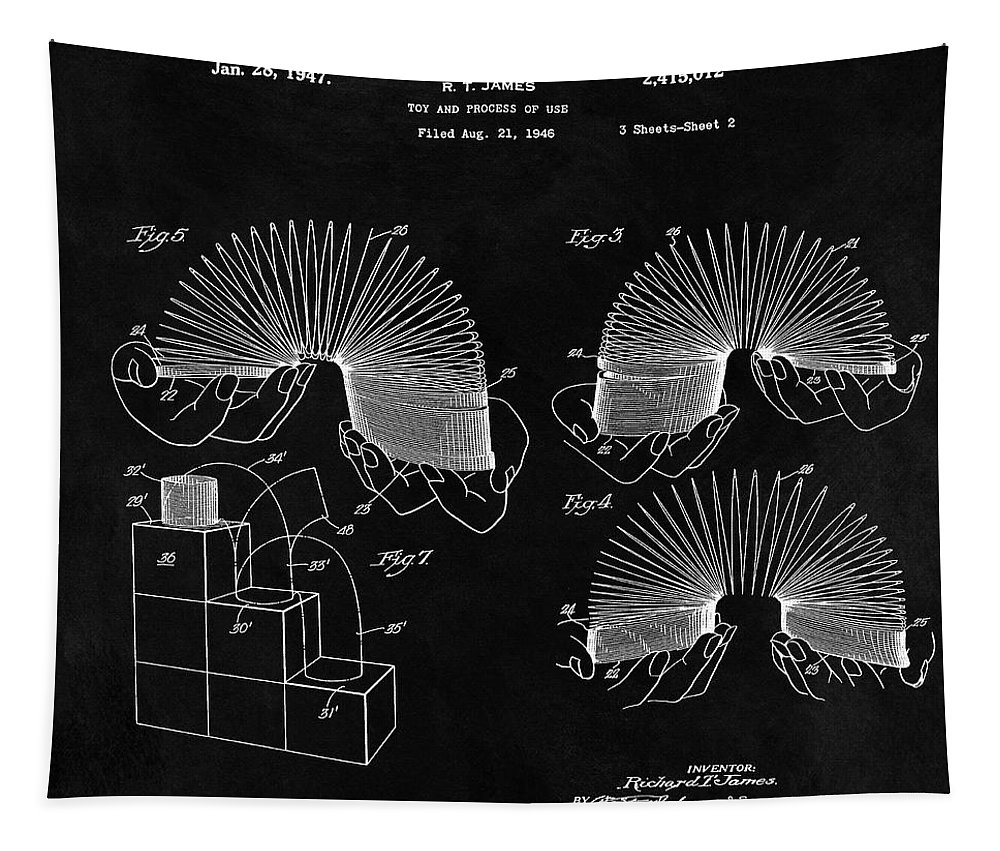 1947 Slinky Patent Tapestry featuring the drawing Slinky Patent Design by Dan Sproul