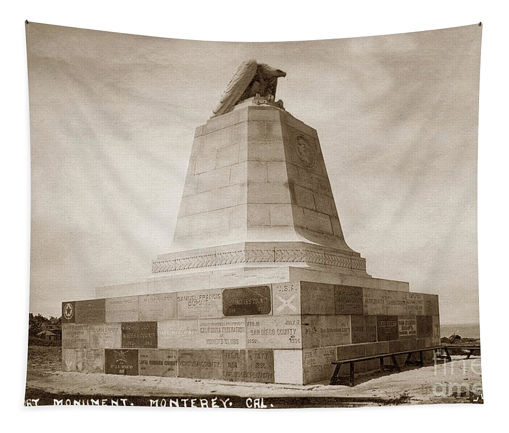 Sloat Monument Tapestry featuring the photograph Sloat Monument On The Presidio Of Monterey Circa 1910 by California Views Archives Mr Pat Hathaway Archives