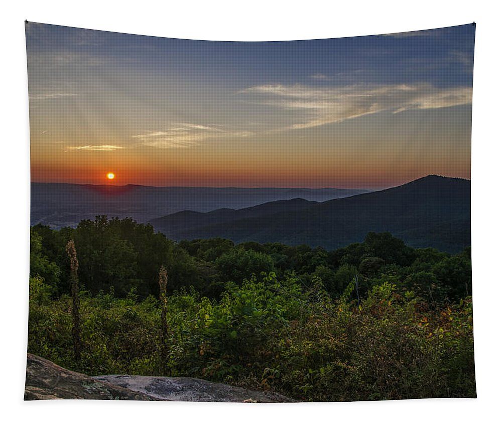 Sunrise Tapestry featuring the photograph Skyline Drive National Park At Sunset by Bill Cannon