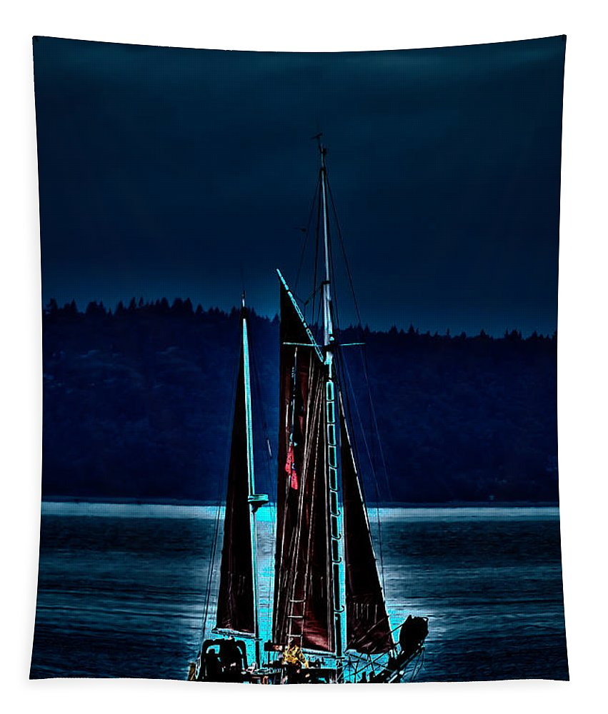 Small Among The Tall Ships Tapestry featuring the photograph Small Among The Tall Ships by David Patterson