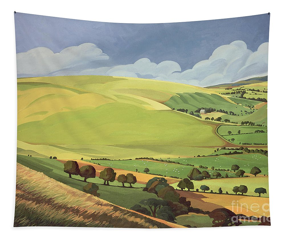 Welsh Landscape; Field; Fields; Country; Countryside; Rural; Rolling Hills; Valleys; Hill; Tree; Trees; Grass; Green; Sky; Landscape Tapestry featuring the painting Small Green Valley by Anna Teasdale