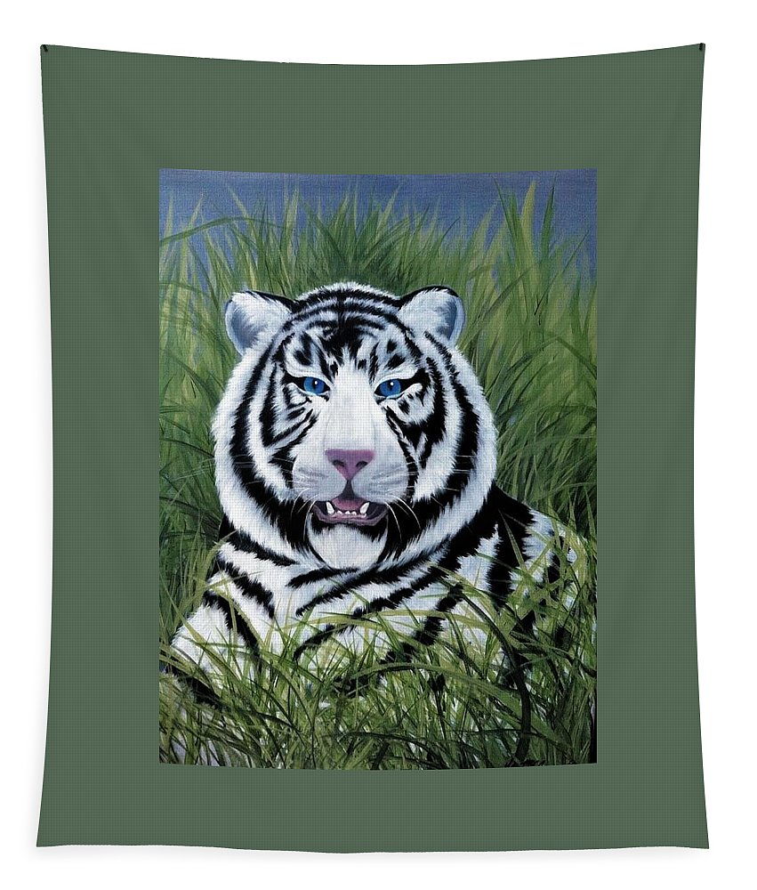 White Tiger Tapestry featuring the painting Smile by Glen Mcclements