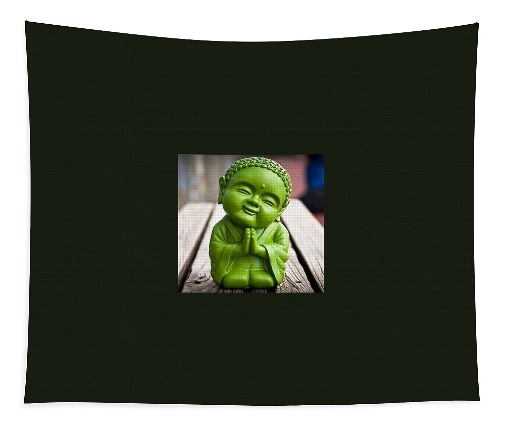 Tapestry featuring the photograph Smiley Buddha by Nimu Bajaj and Seema Devjani