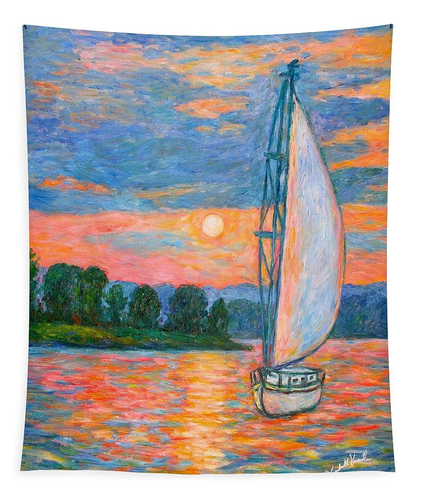 Kendall Kessler Tapestry featuring the painting Smith Mountain Lake by Kendall Kessler