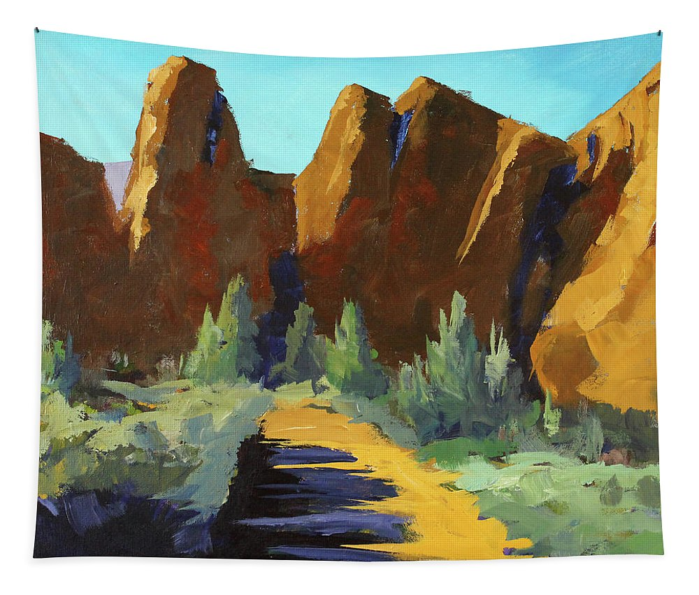 Oregon Landscape Painting Tapestry featuring the painting Smith Rock by Nancy Merkle