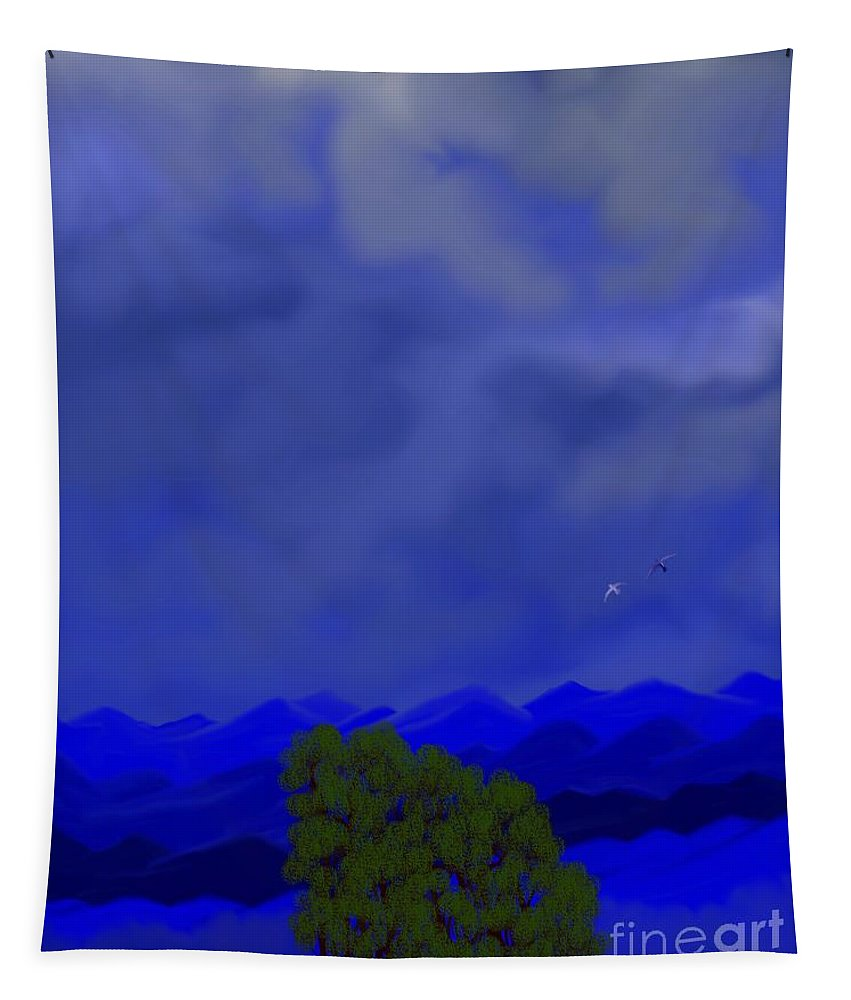 Different Tapestry featuring the digital art Smokey Mountains Landscape by Debra Lynch