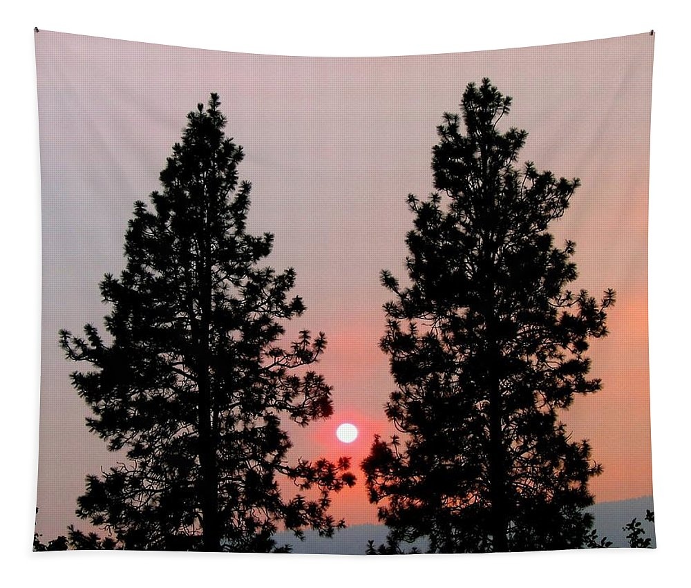 Smoke Tapestry featuring the photograph Smokey Okanagan Sunset by Will Borden