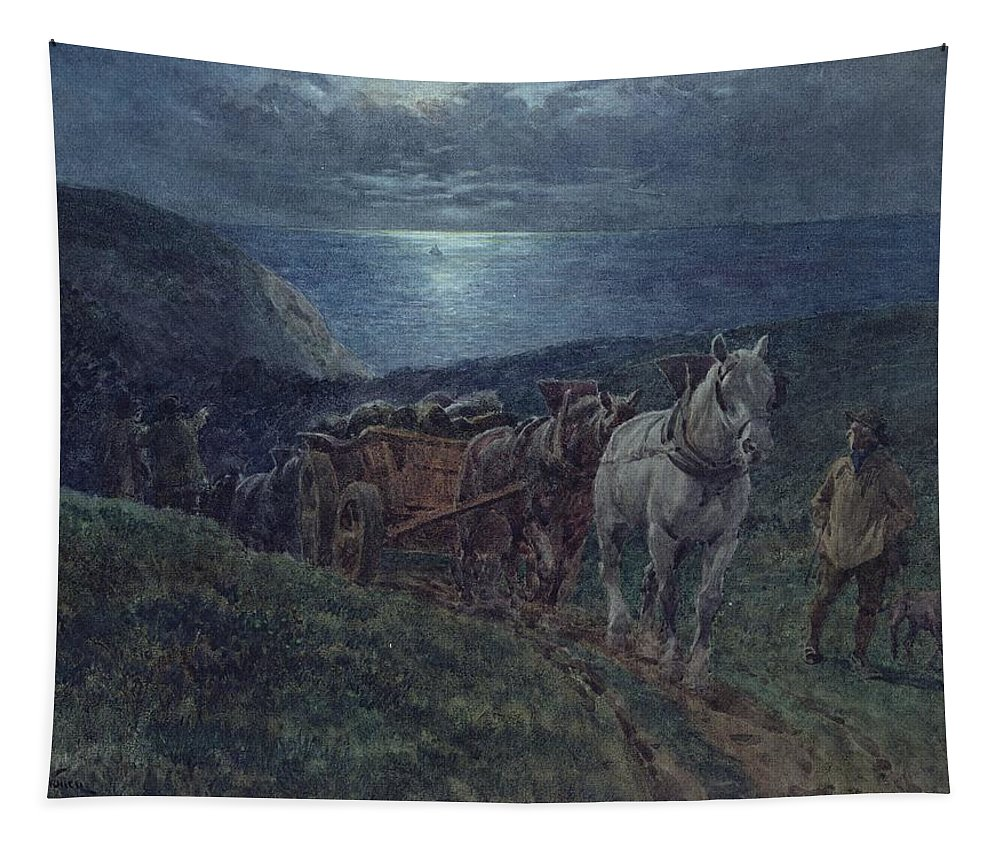 Smugglers Tapestry featuring the painting Smugglers by William Barnes Wollen