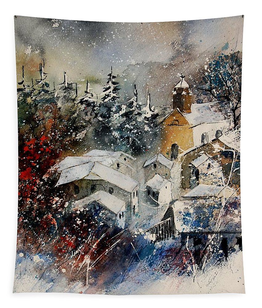 Landscape Tapestry featuring the painting Snon In Frahan by Pol Ledent