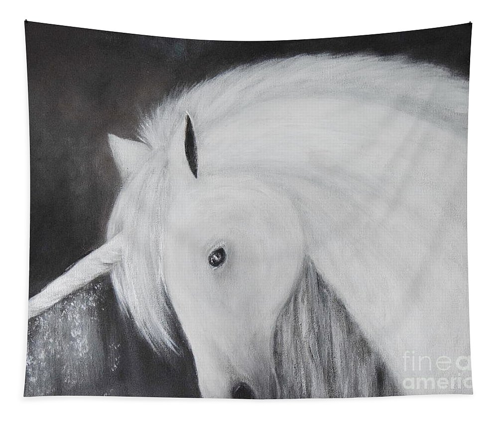 Unicorn Tapestry featuring the painting Snow by Andreea Moldovan
