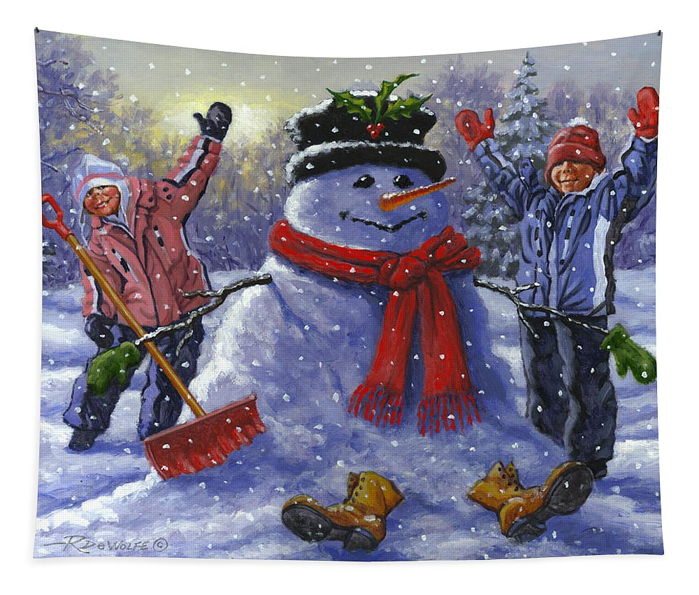 Snowman Tapestry featuring the painting Snow Day by Richard De Wolfe