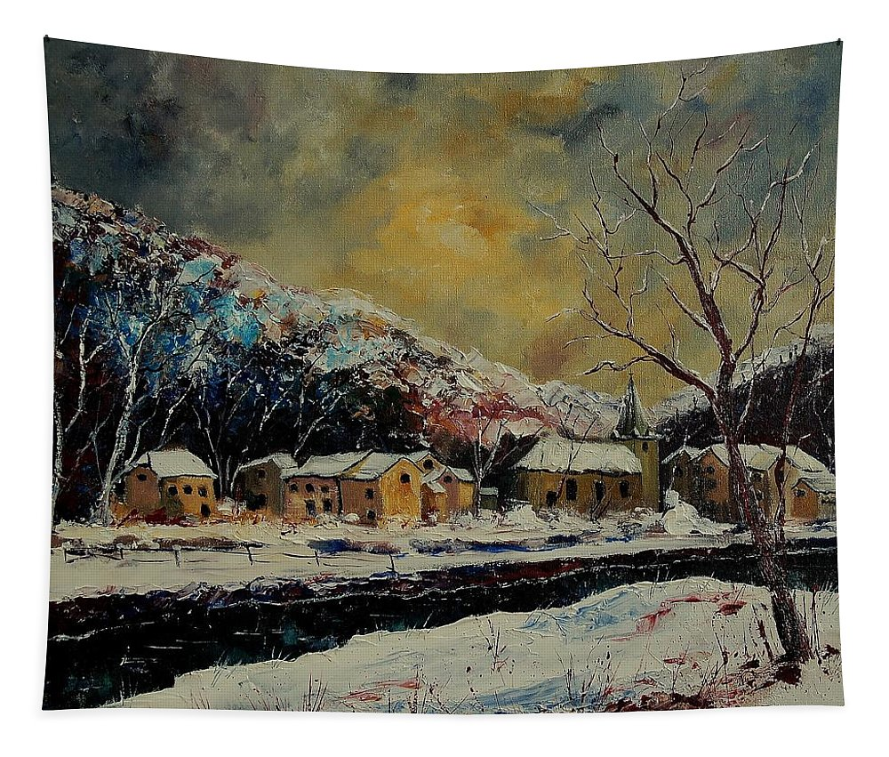 Winter Tapestry featuring the painting Snow In Bohan by Pol Ledent