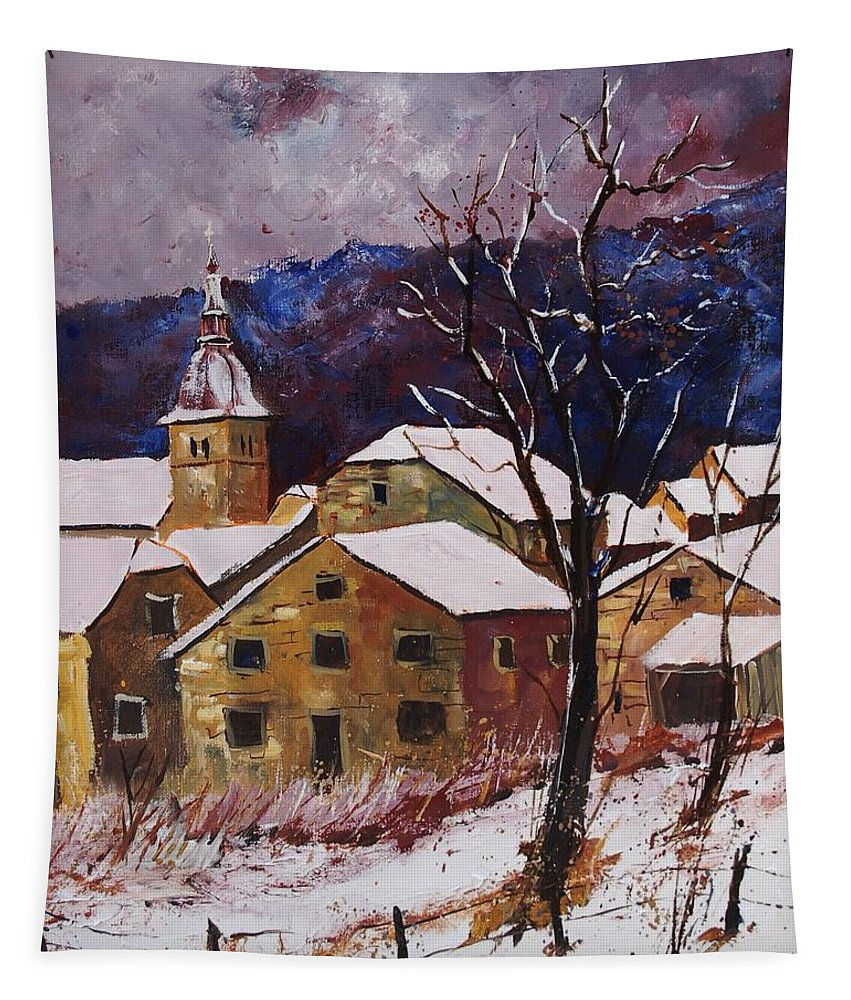 Landscape Tapestry featuring the painting Snow In Chassepierre by Pol Ledent
