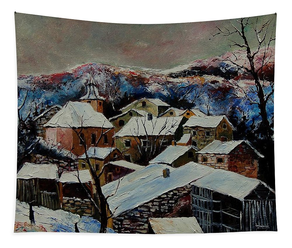 Winter Tapestry featuring the painting Snow In Laforet 78 by Pol Ledent