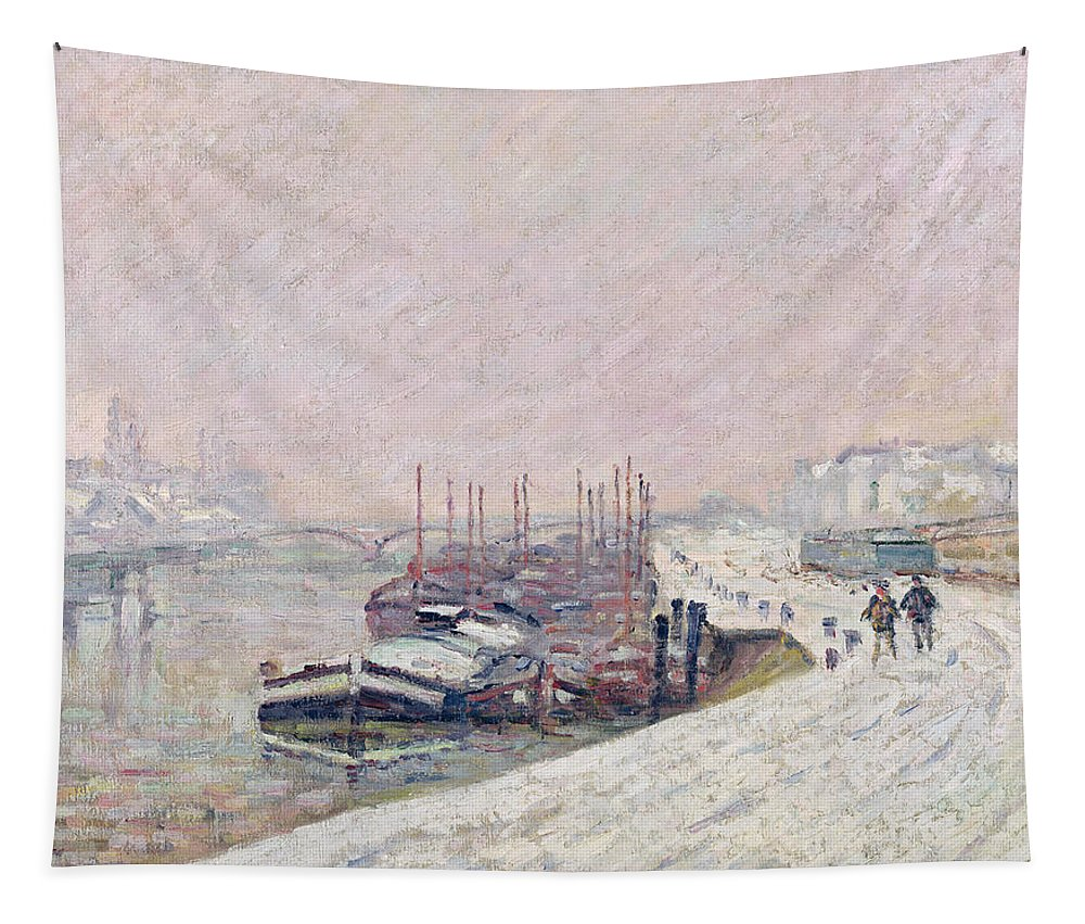 Snow Tapestry featuring the painting Snow In Rouen by Jean Baptiste Armand Guillaumin