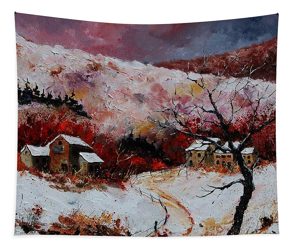 Snow Tapestry featuring the painting Snow In The Ardennes 78 by Pol Ledent