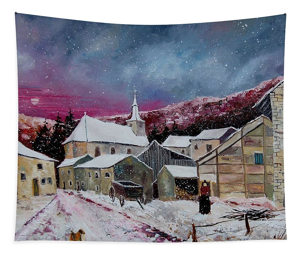 Snow Tapestry featuring the painting Snow Is Falling by Pol Ledent