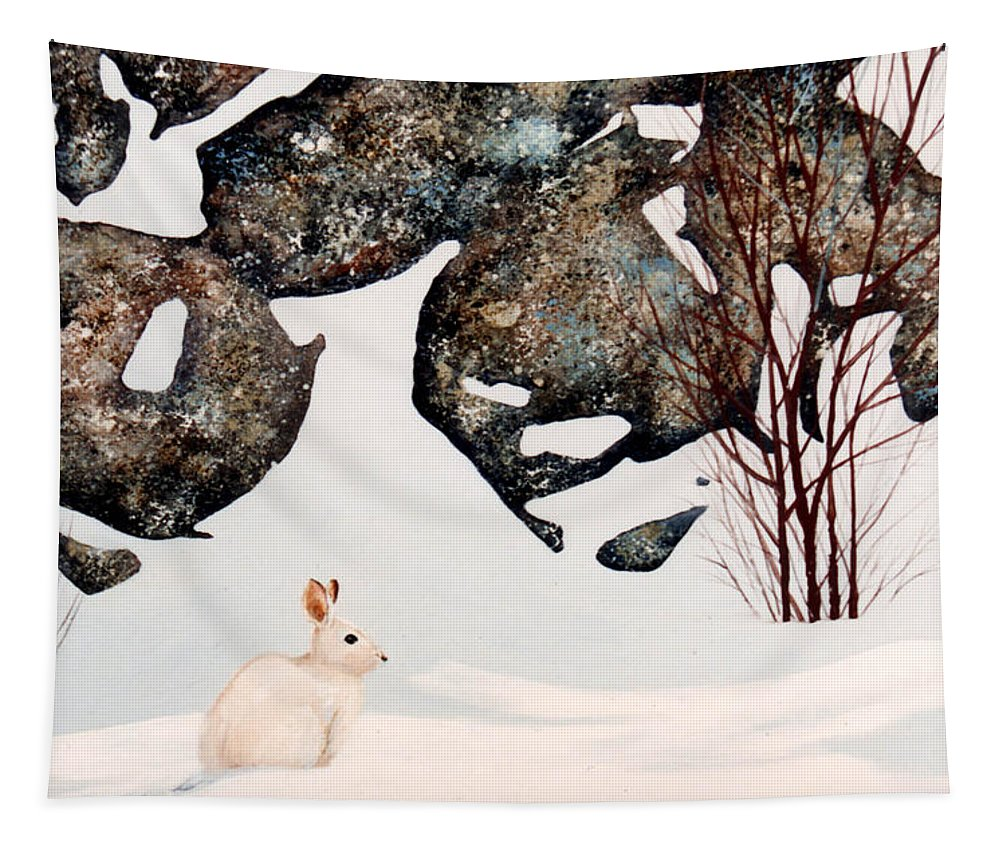 Wildlife Tapestry featuring the painting Snow Ledges Rabbit by Frank Wilson