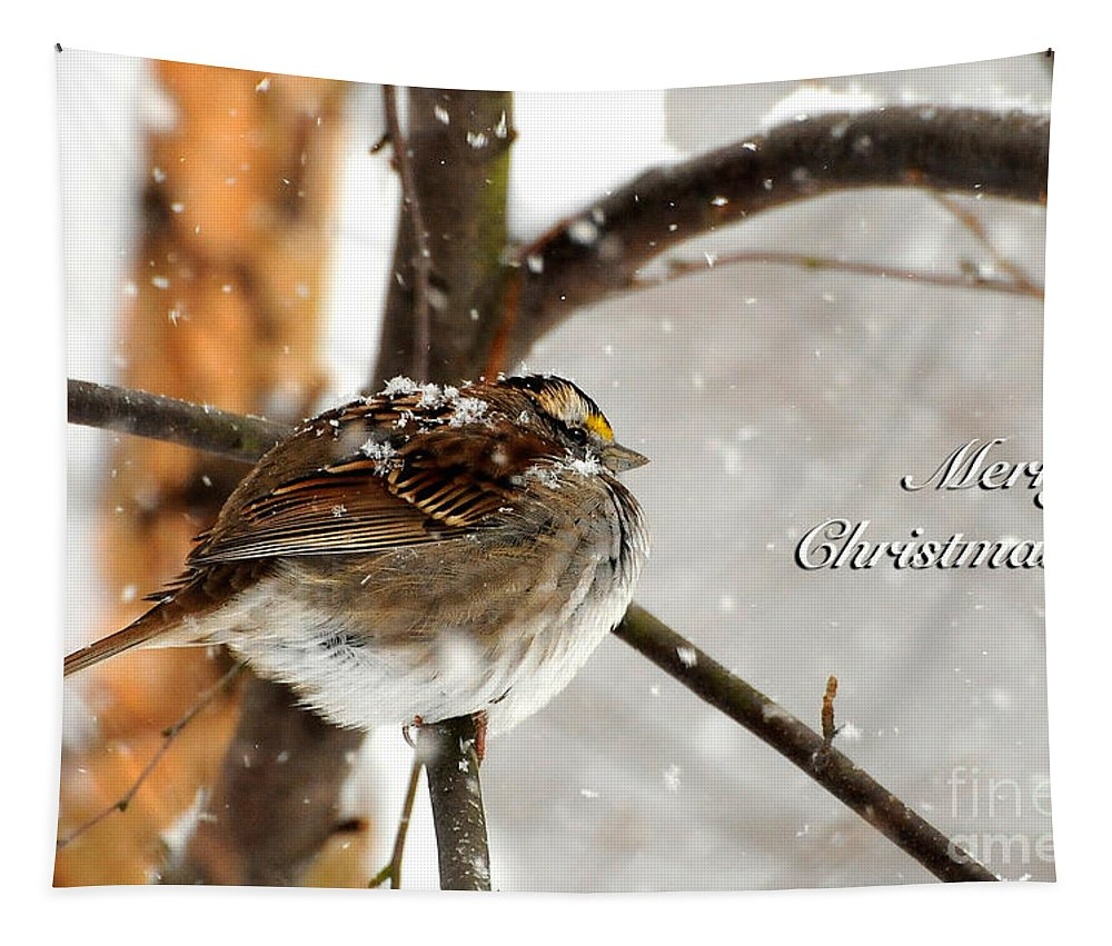 Christmas Tapestry featuring the photograph Snowball Christmas Card by Lois Bryan