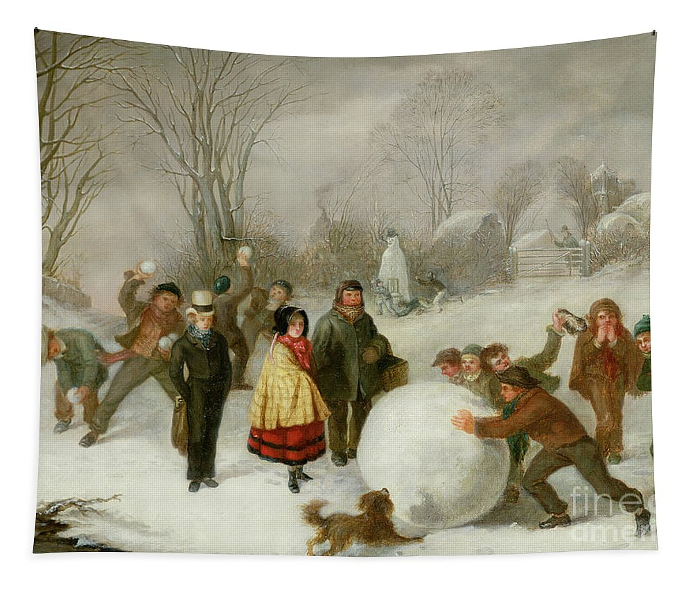 Snowballing Tapestry featuring the painting Snowballing  by Cornelis Kimmel