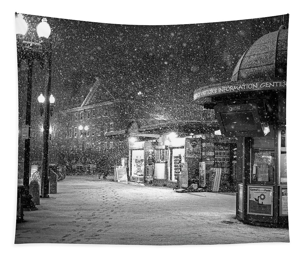 Harvard Tapestry featuring the photograph Snowfall In Harvard Square Cambridge Ma Kiosk Black And White by Toby McGuire