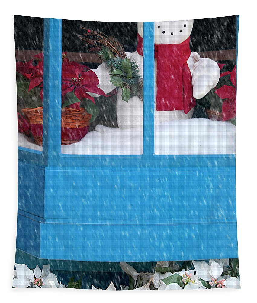 Christmas Tapestry featuring the photograph Snowman And Poinsettias - Frosty Christmas by Mitch Spence