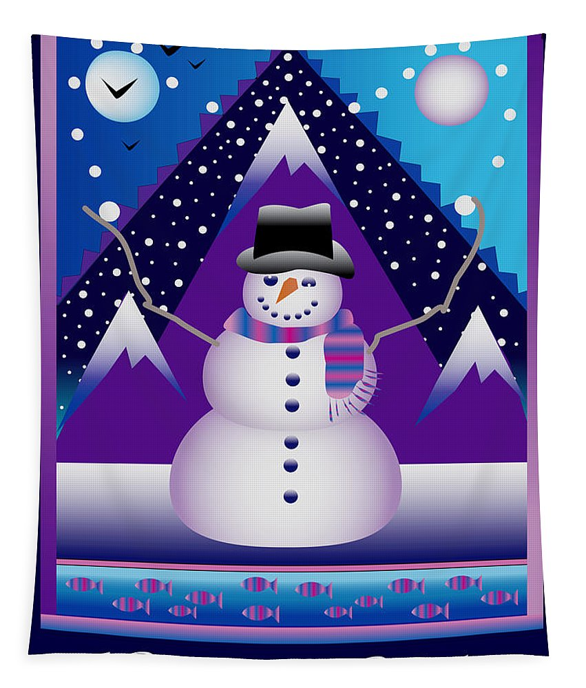 Card Tapestry featuring the digital art Snowman Juggler by Nancy Griswold