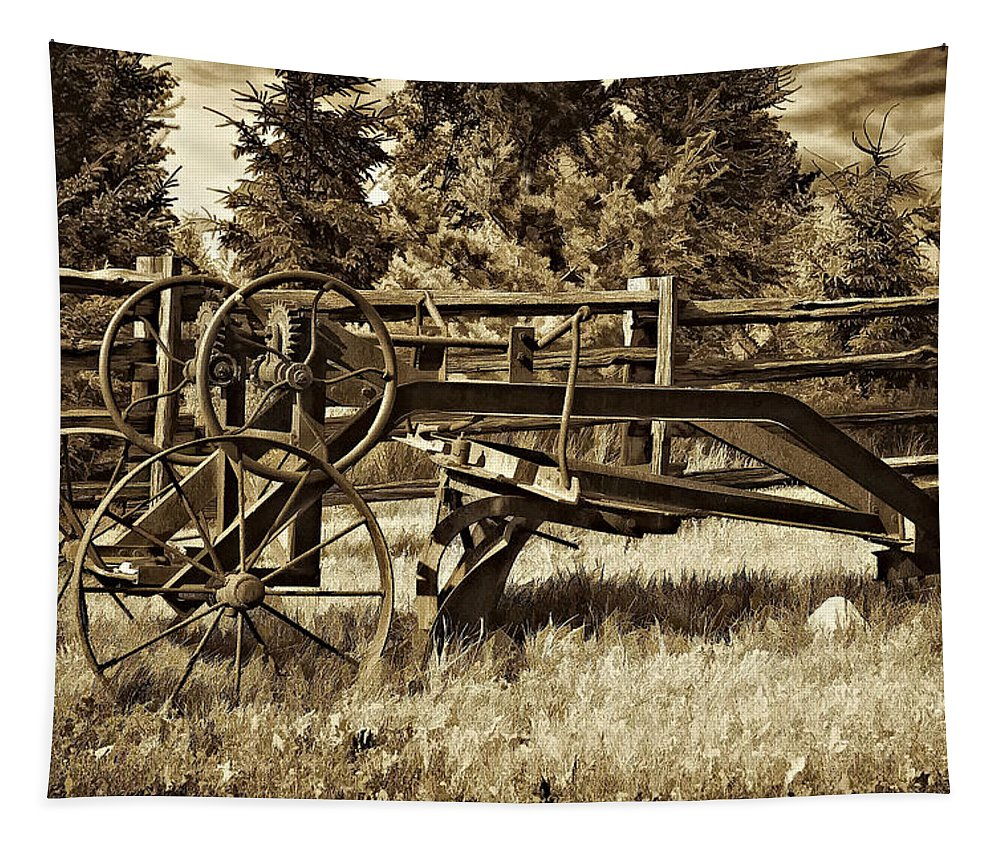 Antique Tapestry featuring the photograph Snowplow Sepia by Steve Harrington