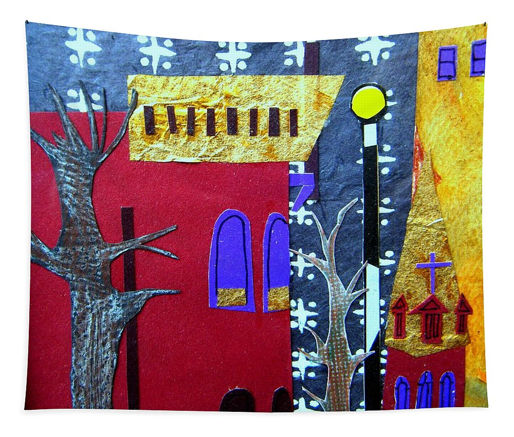 City Tapestry featuring the mixed media Snowstorm Backbay by Debra Bretton Robinson