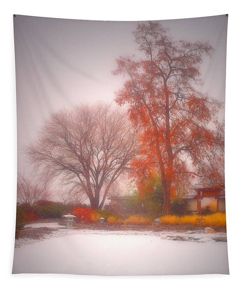 Japanese Gardens Tapestry featuring the photograph Snowstorm In The Japanese Gardens by Tara Turner