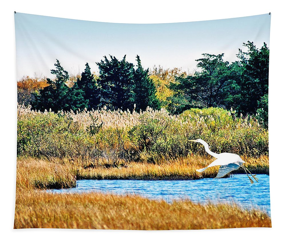 Landscape Tapestry featuring the photograph Snowy Egret-island Beach State Park N.j. by Steve Karol