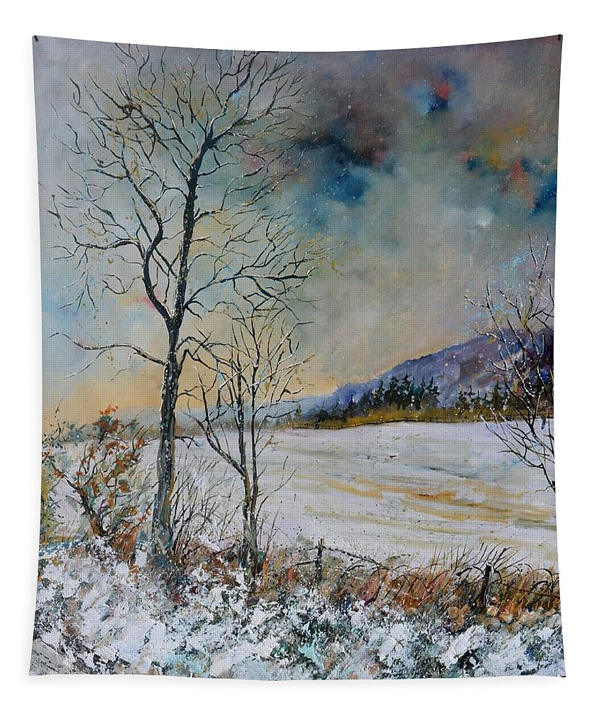 Landscape Tapestry featuring the painting Snowy Landscape by Pol Ledent
